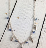 Handmade Sterling Silver Necklace with 5 kyanite, 4 small spikes, double link chain