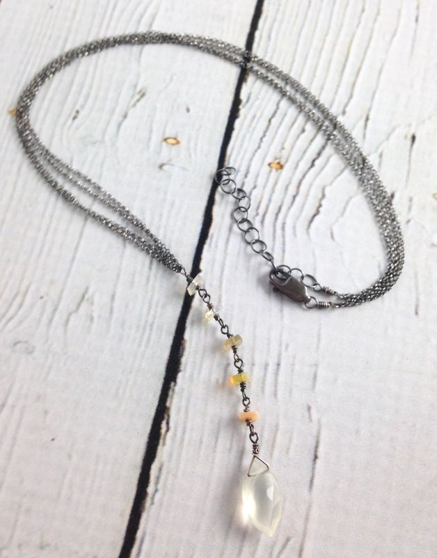 Handmade Sterling Silver Necklace with moonstone marquis, square opal modified lariat
