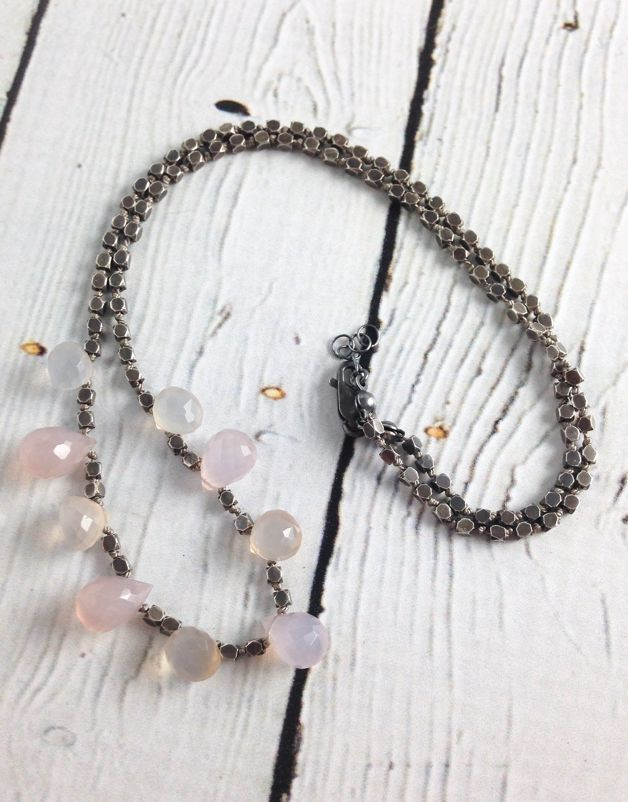 Handmade Silver Necklace with faceted oxidized silver, purple/light purple chalcedony briolettes knotted on grey silk