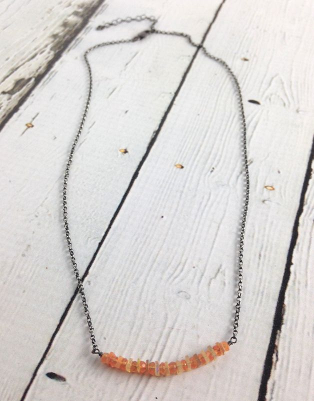 Handmade Sterling Silver Necklace with orange opal, carnelian bar across,oxidized