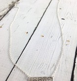 Handmade Silver Necklace with 4 stamped peace bar