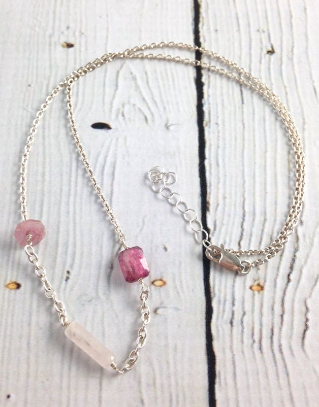 Handmade Silver Necklace with 2 pink tourmaline, 1 long barrel rose quartz in center