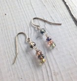 Handmade Silver Earrings with sapphire stack dangle