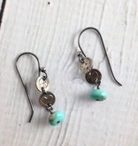 Handmade Silver Earrings with tiny peace, heart, turquoise
