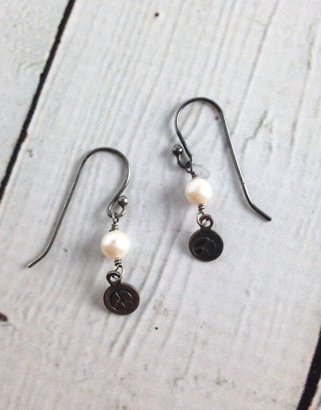 Sterling Silver and Pearl Peace Earrings
