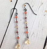 Handmade Silver Earrings with citrine briolette, 5 long dangle: carnelian, garnet, citrine
