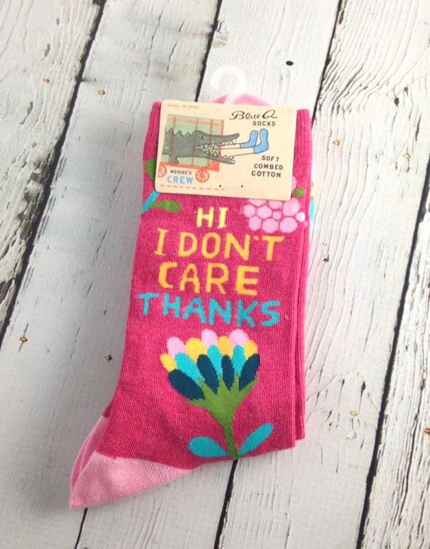 Hi. I Don't Care Women's Crew Socks