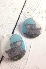"Bunny in Moonlight Design 1.25"" Resin Earring with Sterling Silver Hook"