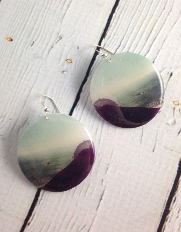 Coastal Photo Resin Earrings with Sterling Silver Hook