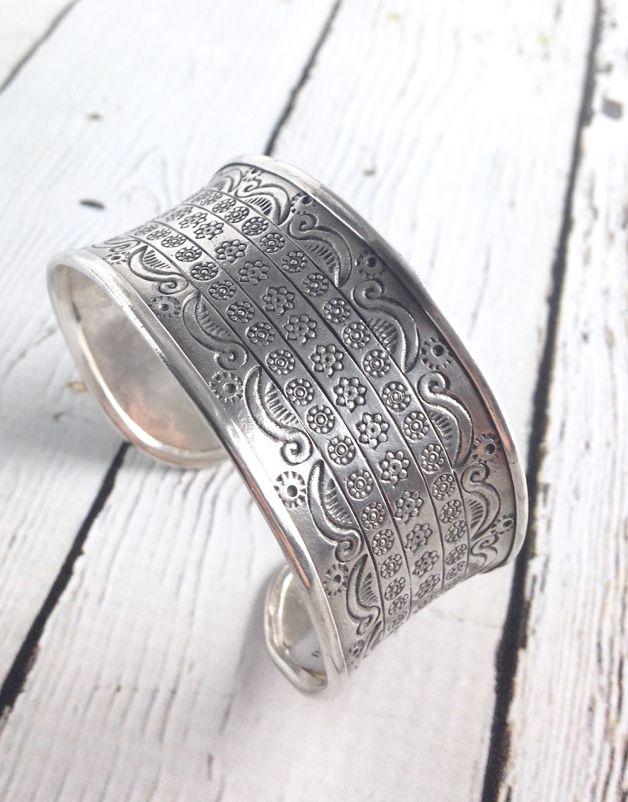 Sterling Silver Concave Pattern Cuff Bracelet