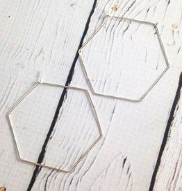 Large Handmade Sterling Silver Hexagon Hoop Earrings