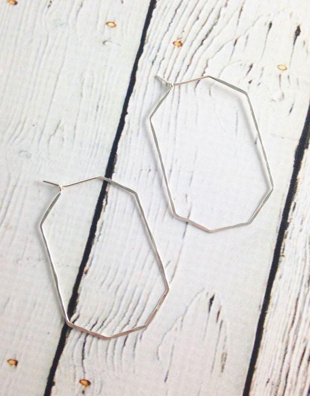 Handmade Silver Gem Hoop Earrings