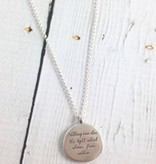 "Handmade Sterling Silver Necklace with Maya Angelou ""Light Shine from Within"" Quote"