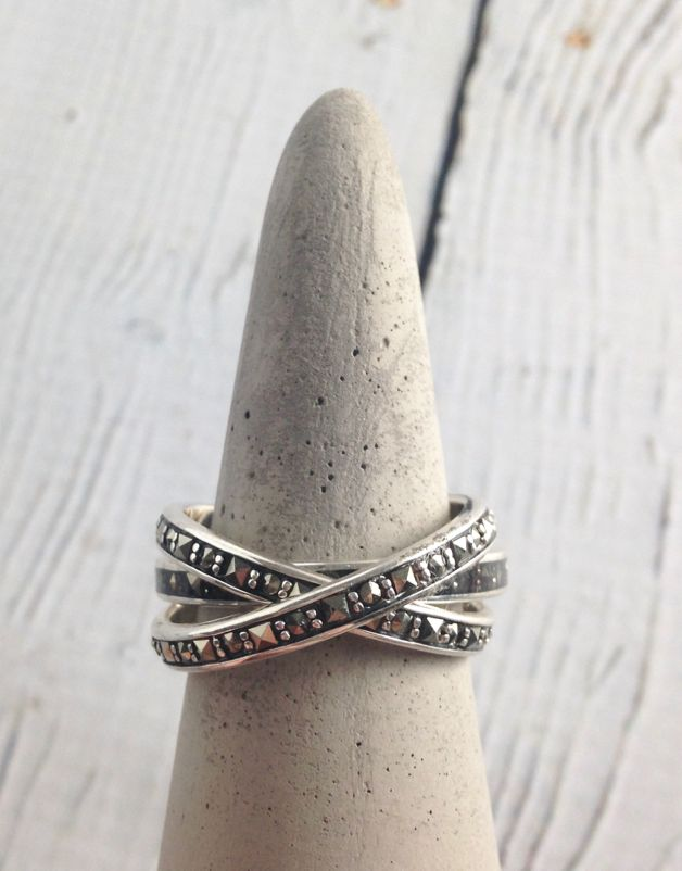 Sterling Silver and Marcasite Sq. Resin Inlay Ring