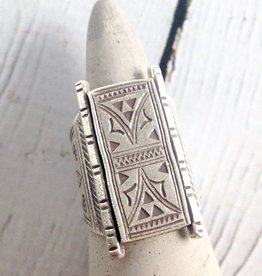 Hill Tribe Temple Door Stamped Silver Ring, Size 7