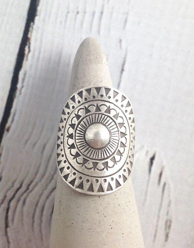 Hill Tribe Silver Sunburst Tribal Ring, Size 7