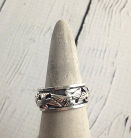 Sterling Silver Spinner Ring with Bird Design, size 7