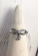Sterling Silver Marcasite Bow Ring Size 7