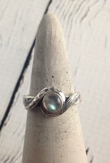 Oxidized Silver with Round Labradorite Ring, Size 9