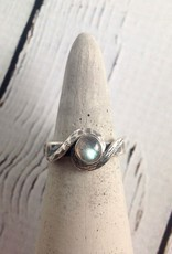 Oxidized Silver with Round Labradorite Ring, Size 7