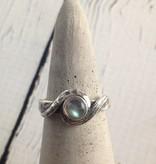 Oxidized Silver with Round Labradorite Ring, Size 7