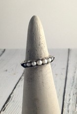 Mashka Oxidized Sterling Silver Pod Ring with fresh water pearls, size 7