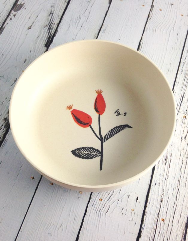Rosehip Flora Set of 2 Bamboo Bowls