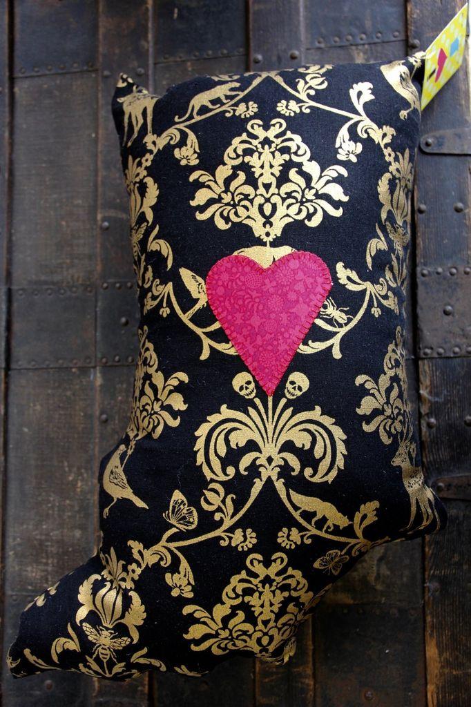 CrimsonTate I LOVE Indiana Pillow - Ornate Flora in Black