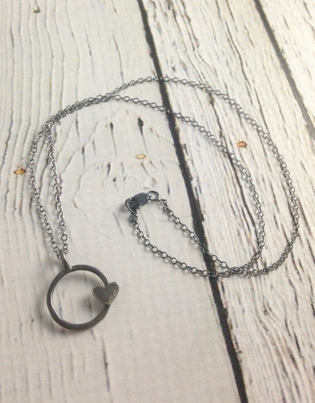 Handmade Circle Heart Recycled Sterling Silver Necklace, Dark Grey
