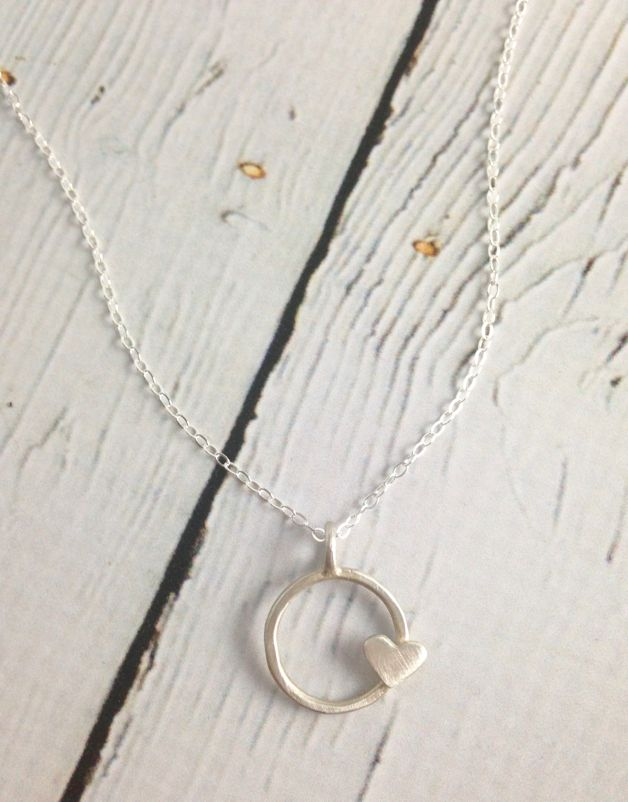 Handmade Circle Heart Recycled Sterling Silver Necklace, Bright White Satin