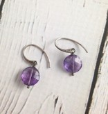 Handmade Silver Earrings with amethyst coins
