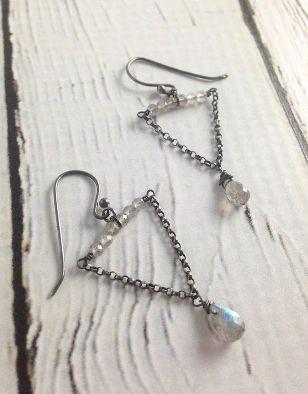 Handmade Silver Earrings with 6 tiny labradorite across, 2 wires labradorite brio at bottom