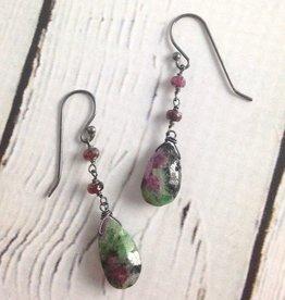 Handmade Silver Earrings with ruby zoisite 2 ruby dangle