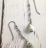 Handmade Silver Earrings with green jasper, 3 agate dangle