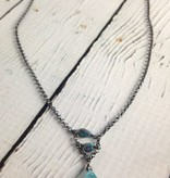 Handmade Silver Necklace with apatite brio, 2 opal ladder oxidized
