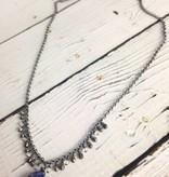 Handmade Silver Necklace with lapis brio, rainbow moonstone, pyrite across