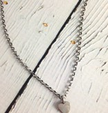 Handmade Silver Necklace with filed heart, large oxidized rolo