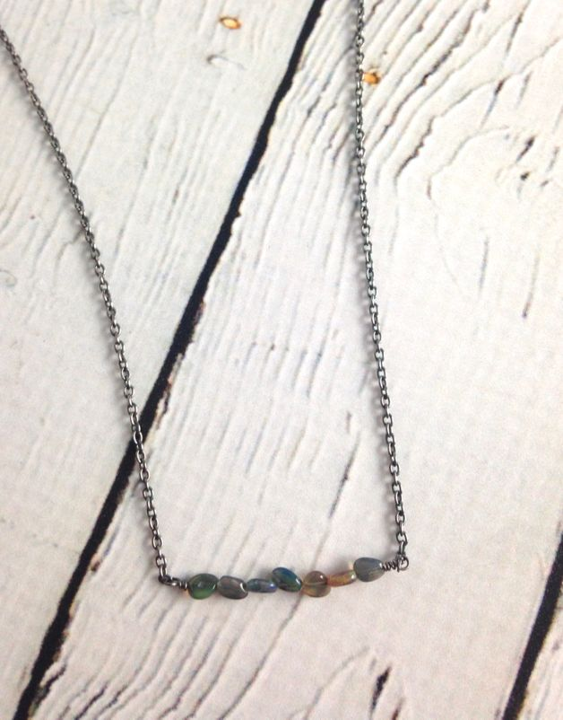 Handmade Silver Necklace with 6 opal across