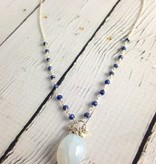 Handmade Silver Necklace with large oval blue chalcedony, joined lapis