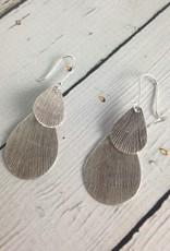Hill Tribe Silver Stamped Double Teardrop Earrings