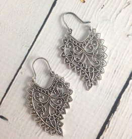 Sterling Silver Ornate Paisley Earrings