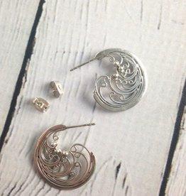Silver Wave Hoop Earrings