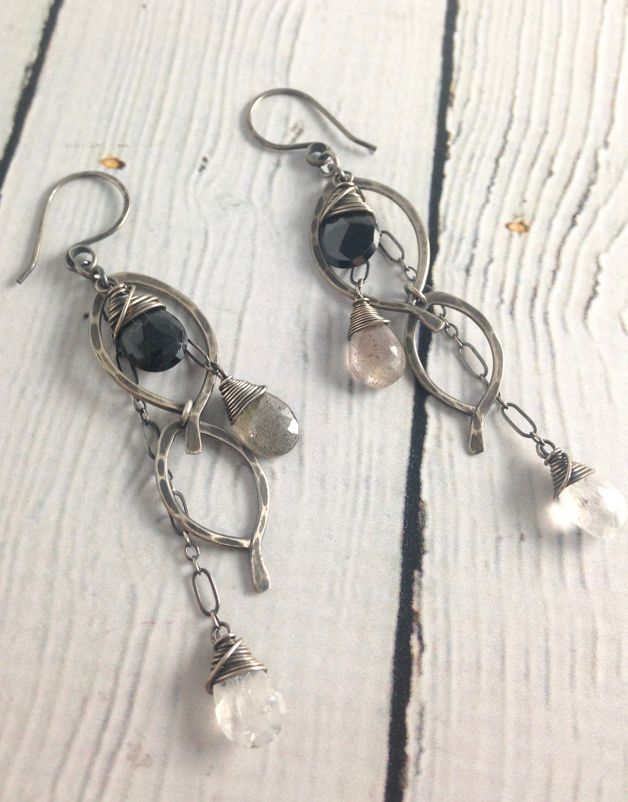 Handmade Oxidized Silver Caviar Mini Leaf Necklace