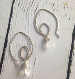 Handmade Oxidized Silver Lotus Earring with Moonstone