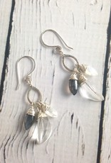 Handmade Silver Earrings with Labradorite Marquise Drop by Viki Jewelry