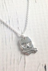 Sterling Silver Necklace with Skull/Hearts Charm