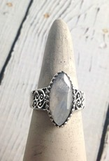 Sterling Silver Large Faceted Marquis Moonstone Ring, Size 9