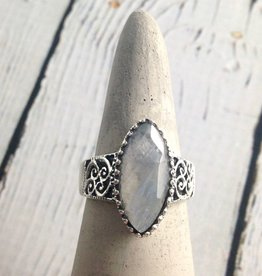 Sterling Silver Large Faceted Marquis Moonstone Ring, Size 7