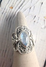 Sterling Silver Granulation style Ring with Marquis-cut Moonstone, Size 7