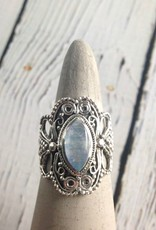 Sterling Silver Granulation style Ring with Marquis-cut Moonstone, Size 9